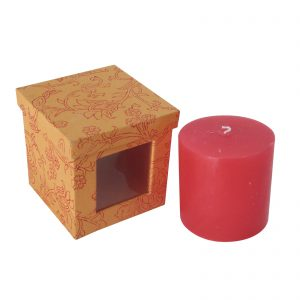Decorative Rose Scented Pillar Candle