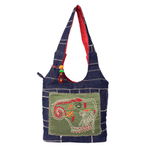 Indha Craft Hand Embroidered Work Denim Shoulder Bag for Girls/Women