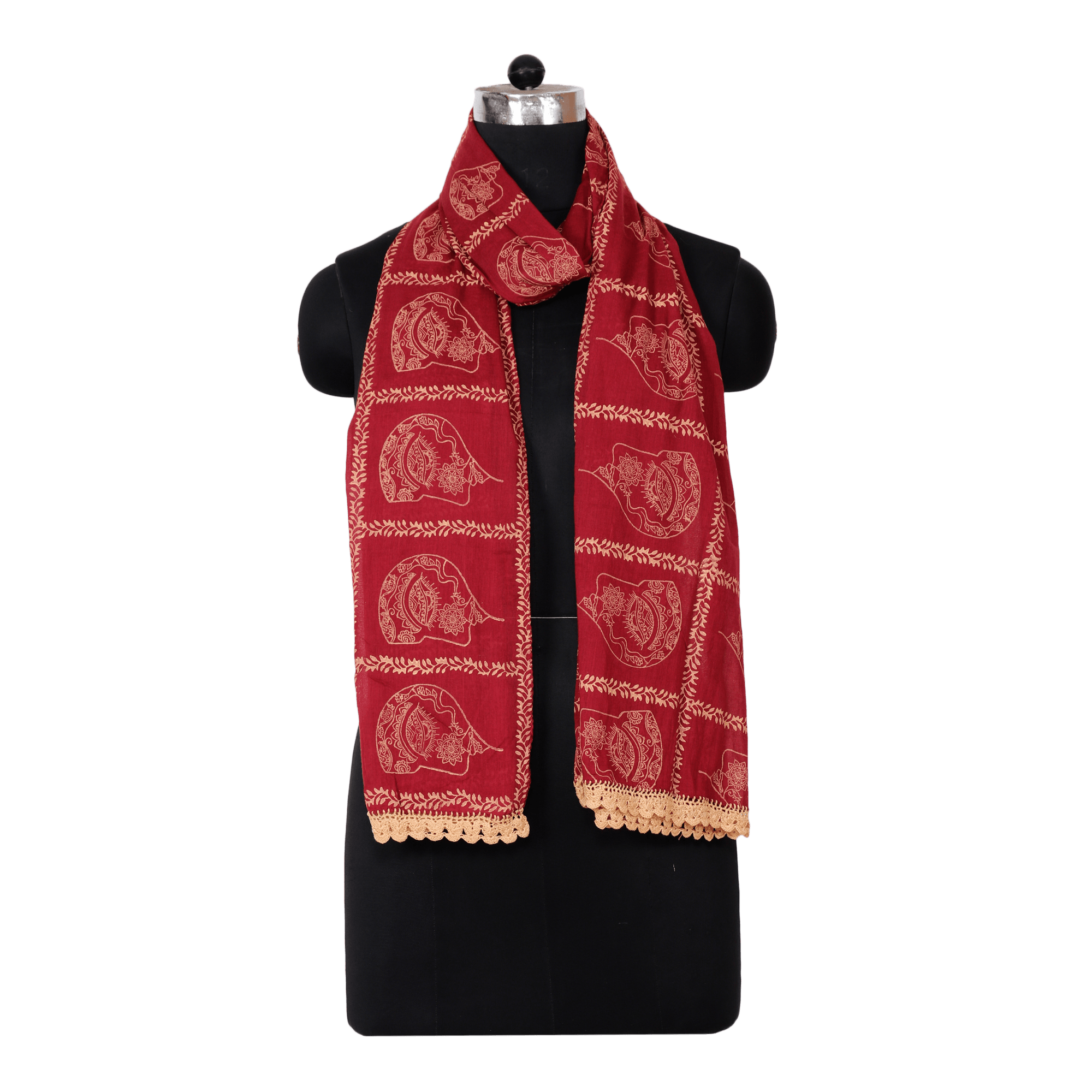 42db8ebf687 Indha Craft Self Design Red Colour Hand Block Printed Voile ( Cotton ...