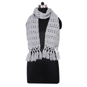 Indha Craft Grey Colour Woolen Knitted Muffler for Men/Women