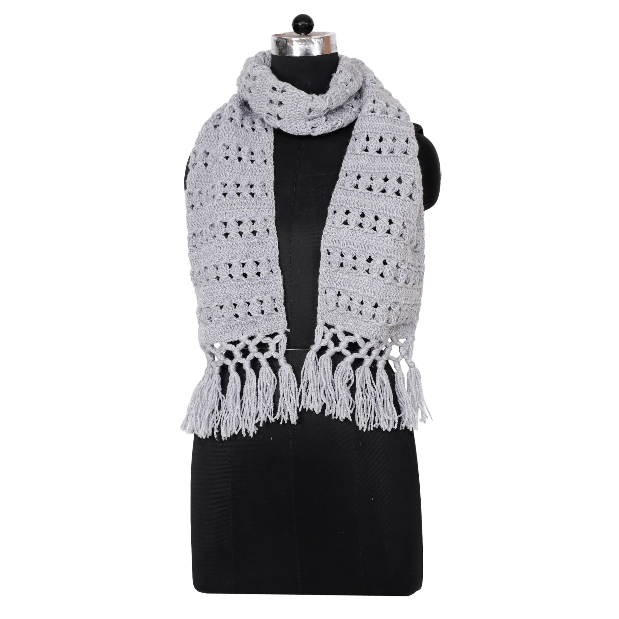 Indha Craft Grey Colour Woolen Knitted Muffler For Men Women Curated Online Shop For Handcrafted Products Made In India By Women Artisans