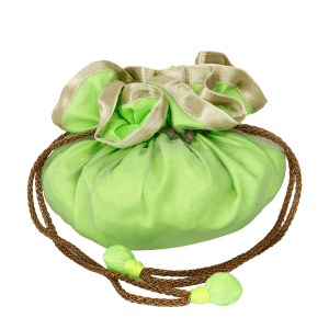 Indha Craft Ethnic Dupion Silk Green Colour Draw String Potli Pouch (Green)