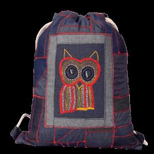 Indha Craft Denim Blue Unisex Drawstring Bag/ Sports Backpack/ Gym Bag