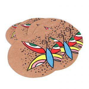 Indha Craft Handpainted Wooden Tea/Coffee Coaster Set of 6