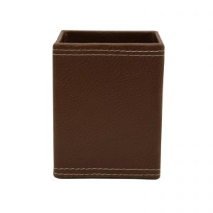 Indha Craft Artificial Leather Handmade Square Pen Stand