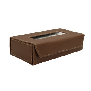 Indha Craft Handmade Artificial Leather Tissue Dispenser (Brown Colour)
