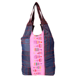Indha Craft Denim Hand Embroidered Backpack