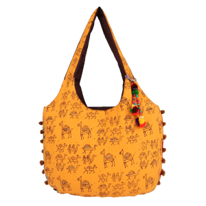 Indha Craft Hand Block Printed Stylish Shoulder Bag for Girls/Women ( Yellow Colour)