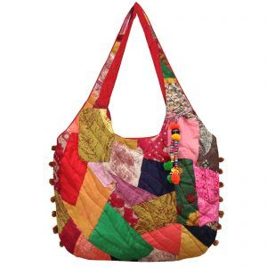 Indha Craft Cotton Patchwork Stylish Shoulder Bag for Girls/Women ( Multicolour)