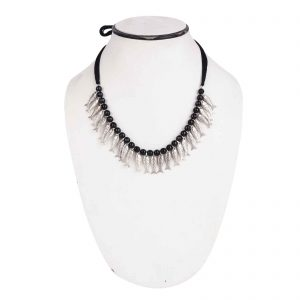 Indha Craft Handmade Silver Fish Beads Tribal Necklace/Neck Choker for Girls/Women