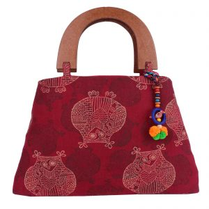 Indha Craft Cotton Hand Block Printed Maroon Colour Partywear Hand Bag for Girls/Women