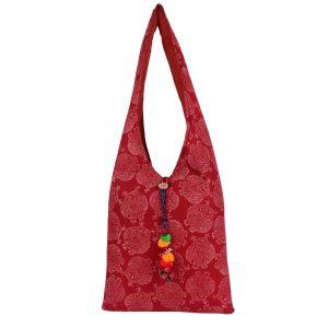 Indha Craft Cotton Hand Block Printed Stylish Jhola Bag for Girls/Women (Maroon)