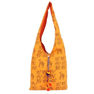 Indha Craft Yellow Colour Hand Block Printed Cotton Jhola Bag for Girls/Women