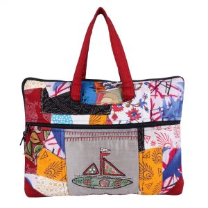 Indha Craft Hand Embroidered Cotton Patchwork 14″ Laptop Bag for Women (Multicolour)
