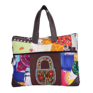 Indha Craft Hand Embroidered Multicolour Patchwork 14″ Laptop Bag for Women