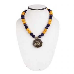 Indha Craft Yellow & Blue Wooden Bead Necklace for Girls/Women