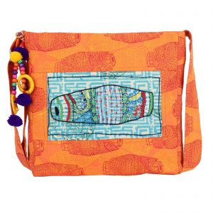 Indha Craft Orange Colour Ethnic Hand Block Print College Bag/Sling Bag for Girls/Women