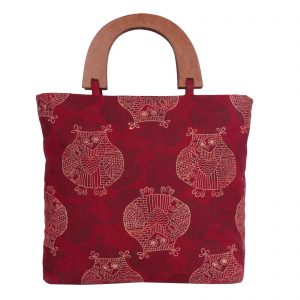 Indha Craft Cotton Hand Block Printed Party Bag for Girls/Women (Maroon Colour)