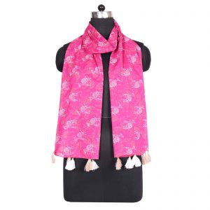 Indha Craft Self Design Pink Colour Hand Block Printed Voile ( Cotton) Women Stole