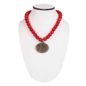 Indha Craft Red Wooden Bead with Brass Pendant Party Wear Necklace for Girls/Women