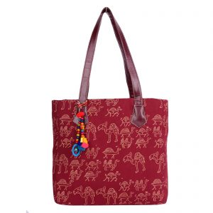 Indha Craft Cotton Hand Block Printed Maroon Colour Stylish Hand Bag for Women's