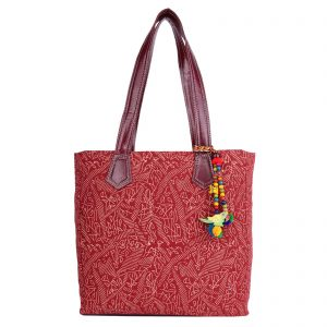 Indha Craft Cotton Hand Block Printed Medium Size Hand Bag for Girls/Women ( Maroon Colour)