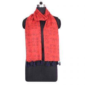 Indha Craft Rust Colour Cotton Hand Block Printed Stole For Girls/Women