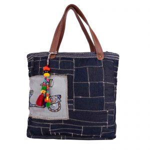 Indha Craft Denim Zig-Zag Hand Embroidered Tote Bag ( Blue Colour)