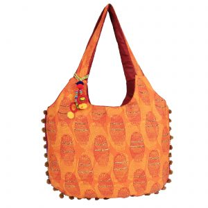 Indha Craft Cotton Hand Block Printed Yellow Colour Stylish Shoulder Bag for Girls/Women