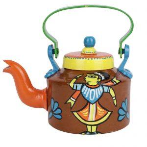 Indha Craft Hand Painted Traditional Aluminium Colourfull Decorative Gift Purpose Aluminium Tea/Coffee Kettle