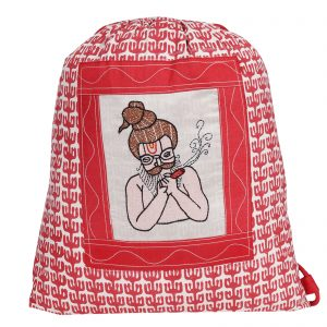 Indha Craft Baba Hand Embroidery work with Ethnic Block Print Red Colour Cotton Drawstring Bag for Men/Women