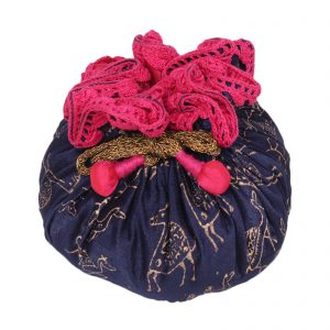 Indha Craft Party Wear Camel Print Navy Blue Colour Drawstring Gift Potli  (Blue)