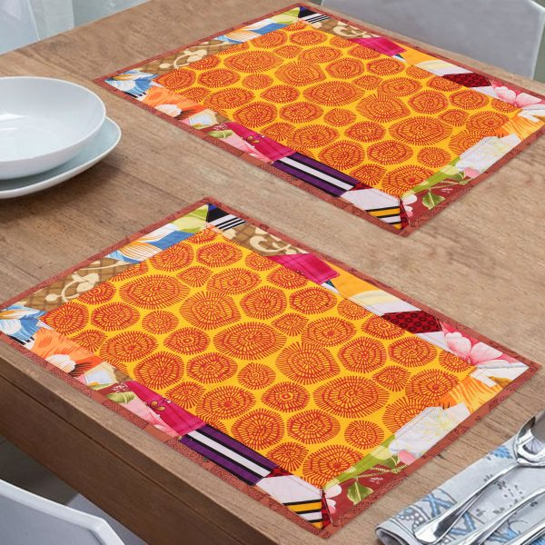 Indha Craft & Indha Craft Multicolour Cotton Patchwork Dining Table Mat - Pack of 6