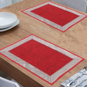 Indha Craft Cotton Hand Block Printed Maroon Colour Dining Table Mat – Pack of 6