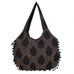 Indha Craft Chanda Shaped Hand Block Print Cotton Black Colour Shoulder Bag with Pom-Pom