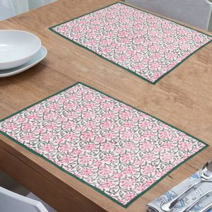 Indha Craft Floral Block Print Cotton Dining Table Mat/Table Placemats Pack of 6