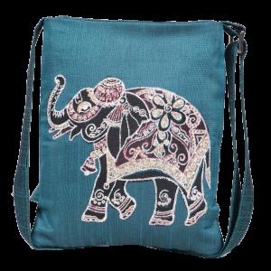 Indha Craft Elephant Hand Block Print Sling Bag/College Bag for Girls/Women (Teal Green)