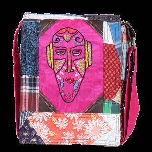 Indha Craft Mask Hand Embroidered Cotton Patchwork Sling Bag/College Bag