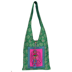 Indha Craft Laltain Hand Embroidery work Teal Green Jhola Bag