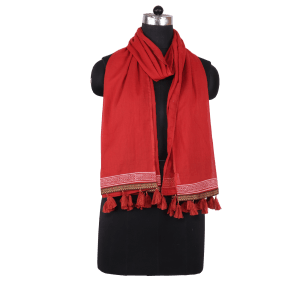 Indha Craft Rust Colour Cotton Plain Stole for Girls/Women