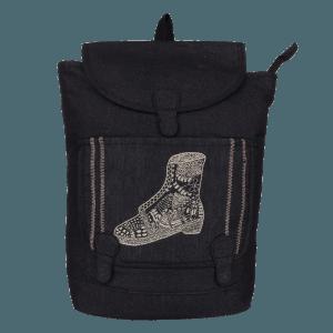 Indha Craft Shoe Hand Embroidery Black Colour Denim Unisex Backpack Bag