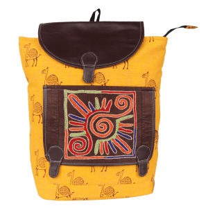 Indha Craft Hand Block Printed Yellow Colour Backpack Bag/Travel Bag for Women