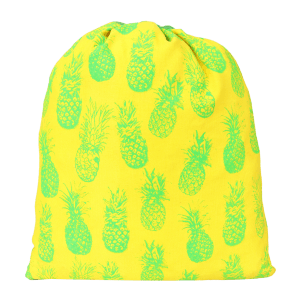 Indha Craft Pineapple Print Yellow Colour Cotton 4.5 L Drawstring Bag/Sports Bag/Cycle Bag