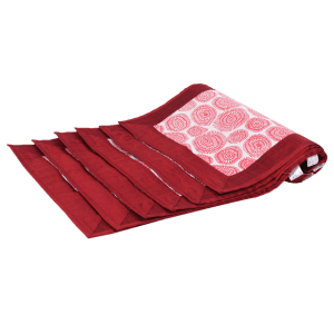 Indha Craft Cotton Hand Block Printed 6 Seater Dining Table Mat (Maroon Colour)
