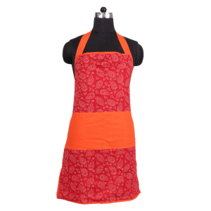 Indha Craft Cotton Hand Block Printed Red Colour Apron