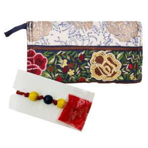Indha Craft Hand Embroidered Casual Silver Clutch Purse with Rakhi