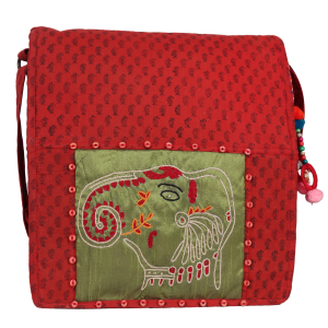 Indha Craft Elephant Face Hand Embroidery Sling Bag/College Bag for Girls/Women