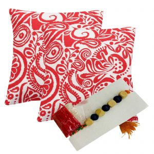 Indha Craft Floral Block Print Red Colour Cushion Cover Pack of 2 with Rakhi