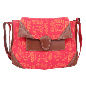 Indha Craft Animal Design Hand Block Printed Red Colour Sling Bag for Girls/Women