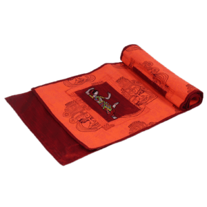 Indha Craft Kathakali Hand Block Printed 189 cm Orange Colour 6 Seater Center Dining Table Runner